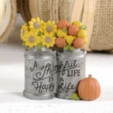 A Thankful Life...Milk Jugs with Flowers, Fall Figurine