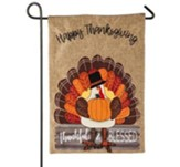 Thankful and Blessed, Turkey Burlap Flag, Small