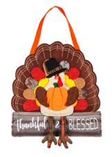 Thankful & Blessed, Turkey Burlap Door Hanger