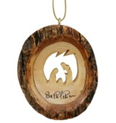Holy Family Round Bark Ornament