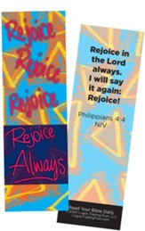 Rejoice Always, Philippians 4:4 Bookmarks, Pack of 25