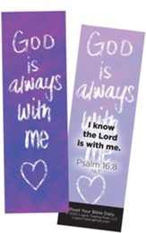 God is Always With Me, Psalm 16:8 Bookmarks, Pack of 25