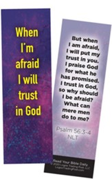 When I'm afraid I will Trust in God, Psalm 56:3-4 Bookmarks, Pack of 25
