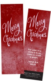 Merry Christmas, Isaiah 9:6 Bookmarks, Pack of 25