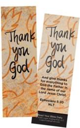 Thank You God, Ephesians 5:20 Bookmarks, Pack of 25