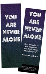 You Are Never Alone, Hebrews 13:5 Bookmarks, Pack of 25