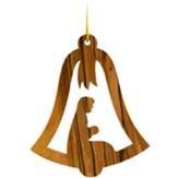 Holy Land Olive Wood Nativity Bell Ornament
