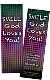 Smile God Loves You, John 16:27 Bookmarks, Pack of 25