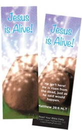 Jesus is Alive (Empty Tomb), Matthew 28:6 Bookmarks, Pack of 25
