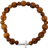 Olive Wood Stretch Bracelet, Beads and Inlet Cross