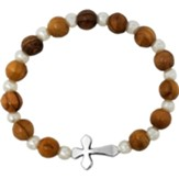 Olive Wood Stretch Bracelet, w White Beads, Sideways Cross