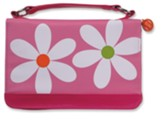 Microfiber Daisy Bible Cover, Pink, Medium