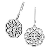 Flourish Cross Earrings, Sterling  Silver