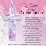 On Your First Communion Mosaic Cross, Pink