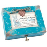 Congratulations On Your Baby, Music Box with Heart Locket, Blue