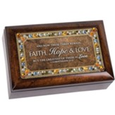 And Now These Three Remain Faith, Hope and Love Petite Jeweled Music Box