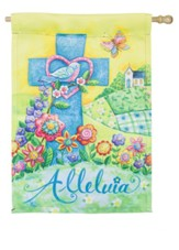Alleluia, Easter, Suede Flag, Large