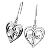 Radiant Heart With Cross, Earrings Sterling Silver
