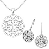 Flourish Cross, Pendant and Earrings Set