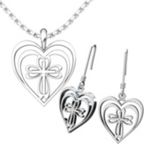 Radiant Heart With Cross, Pendant and Earrings Set