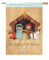 A Savior is Born, Nativity, Burlap Flag, Large