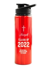 Personalized, Water Bottle, Flip Top, Graduation, Red