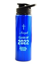 Personalized, Water Bottle, Flip Top, Graduation Blue