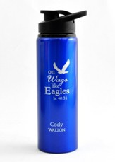 Personalized, Water Bottle, Flip Top, Eagle, Blue