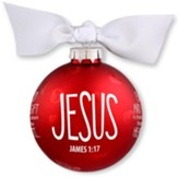 Jesus, Christmas Bulb With Ribbon