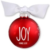 Joy, Christmas Bulb With Ribbon