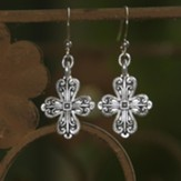 Old World Cross Earrings, Silver