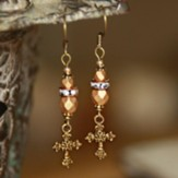 Vintage Beaded Cross Dangle Earrings, Gold Tone