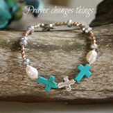 Three Crosses Bracelet Turquoise, Silver And Pearls