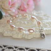 Oval Glass Pearls And Crystals With Heart Bracelet, Pink