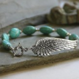 Wings Bracelet with Oval Beads, Turquoise