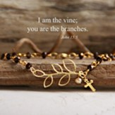 I Am The Vine Beaded Bracelet, Gold Tone Tone and Brown