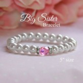 Big Sister Pearls and Pink Crystal Bracelet, 5 Inches