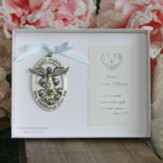 God's Are Angels Watching Over Me Angel Cradle Medal, Blue Ribbon