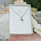 First Communion Cross with Crystal Drop Necklace