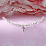 First Communion Cross, Pearls and Crystals Necklace