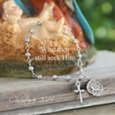 Wise Men Still Seek Him Christmas Bracelet, Pearl Link with Crucifix