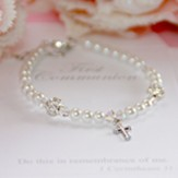 First Communion Pearl Bracelet with Cross and Crystals