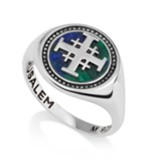 Jerusalem Cross Ring with Azurite Stone, Size 6