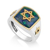 Gold Plated Star of David Azurite Stone Ring, Size 10