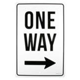 One Way, Right, Church Parking Sign