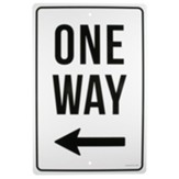 One Way, Left, Church Parking Sign