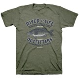 Fishing River Shirt, Heather Military, Large