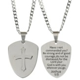 Shield, Cross, Necklace, Joshua 1:9