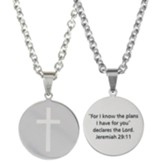 For I Know the Plans I Have For You, Round Disc, Necklace, Stainless Steel
