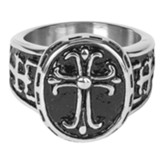 Oval, Cross, Men's Ring, Size 11
